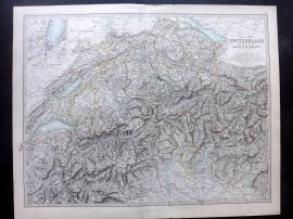 Johnston 1896 Large Antique Map. Switzerland & The Alps of Savoy & Piedmont